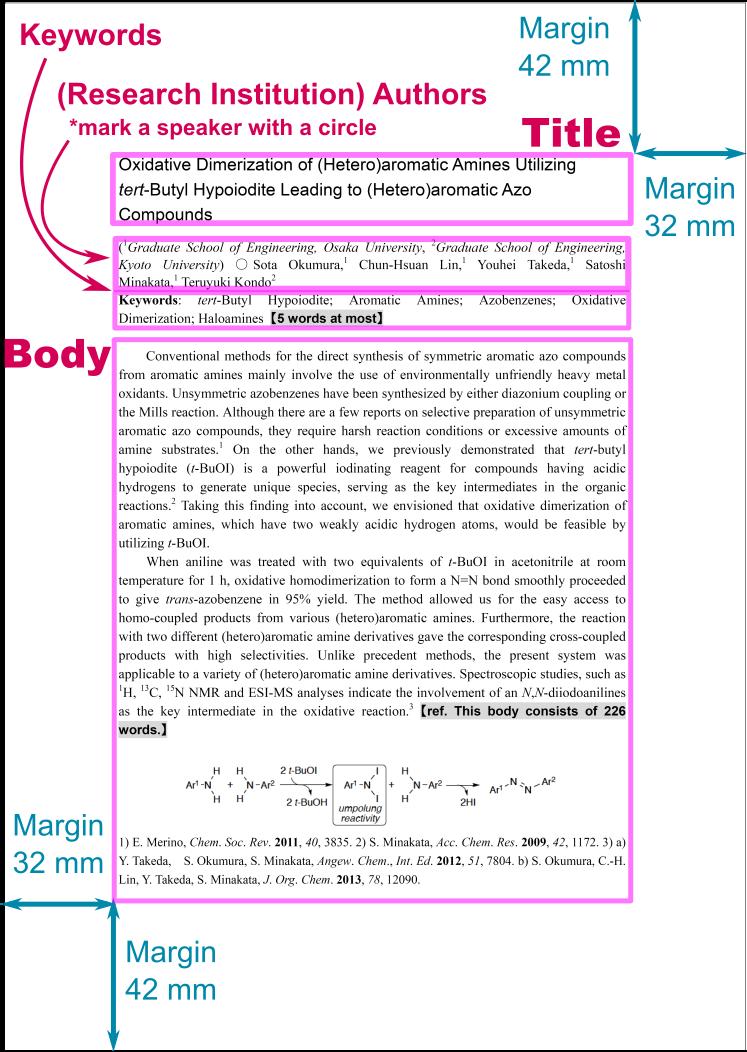 日本化学会 第99春季年会 2019 abstract template sample image